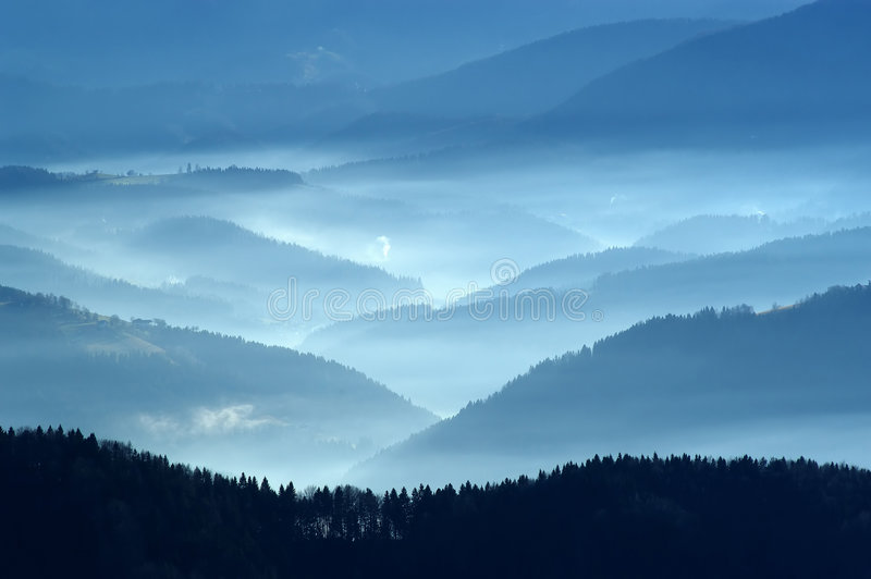 Autumn view from mountains stock photography