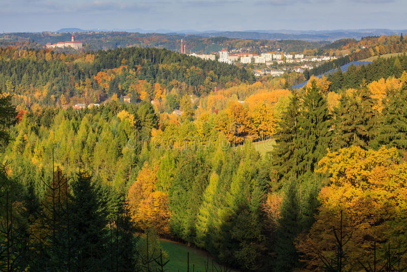 Autumn view of Nachod, Czech republic. With village Lipy royalty free stock image