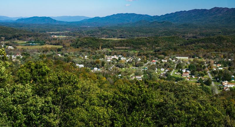 Panoramic View of New Castle from Sinking Creek Mountain. An autumn view of New Castle from Sinking Creek Mountain located in Craig County, Virginia, USA stock image