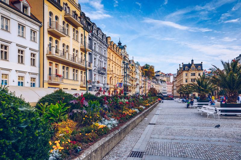 Autumn view of old town of Karlovy Vary Carlsbad, Czech Republic, Europe stock photography