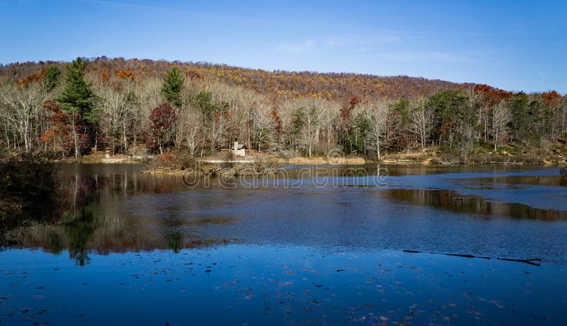Autumn View of Pandapas Pond. Located in the George Washington and Jefferson National Forest, Giles County, Virginia, USA royalty free stock photography