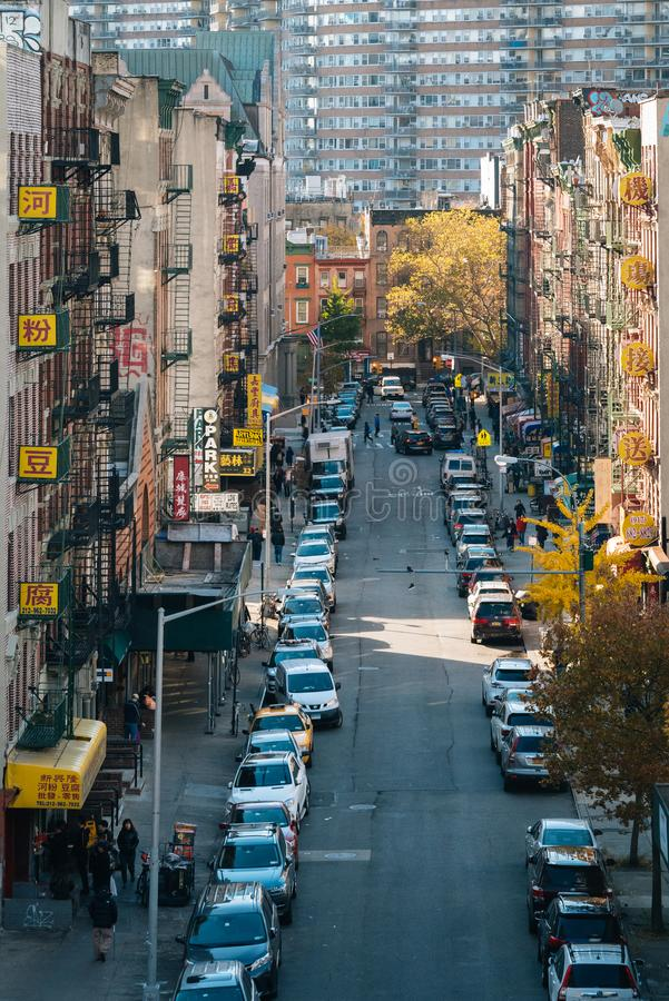 Autumn view of a street in Chinatown, from the Manhattan Bridge in New York City royalty free stock photos
