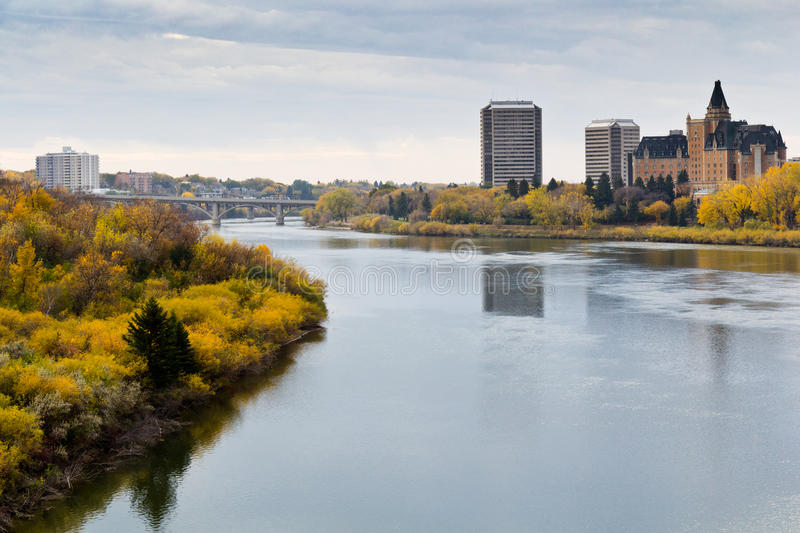 Autumn view to the Saskatoon downtown from the South Saskatchewan River royalty free stock images