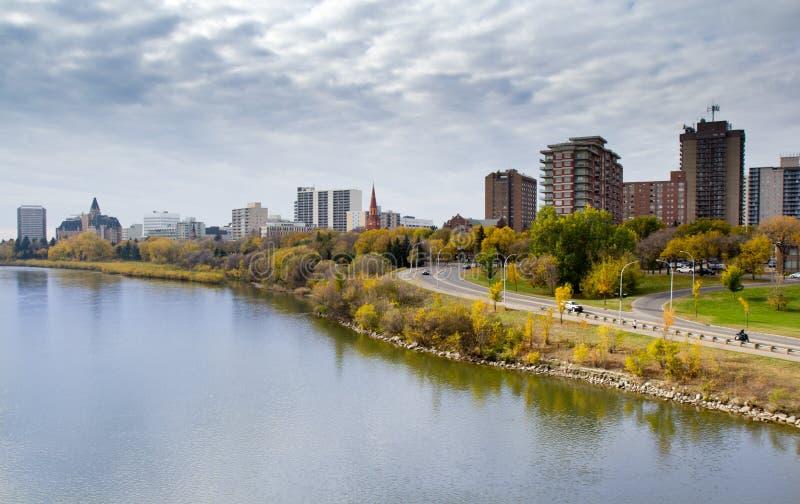 Autumn view to the Saskatoon downtown from the South Saskatchewan River embankment stock image