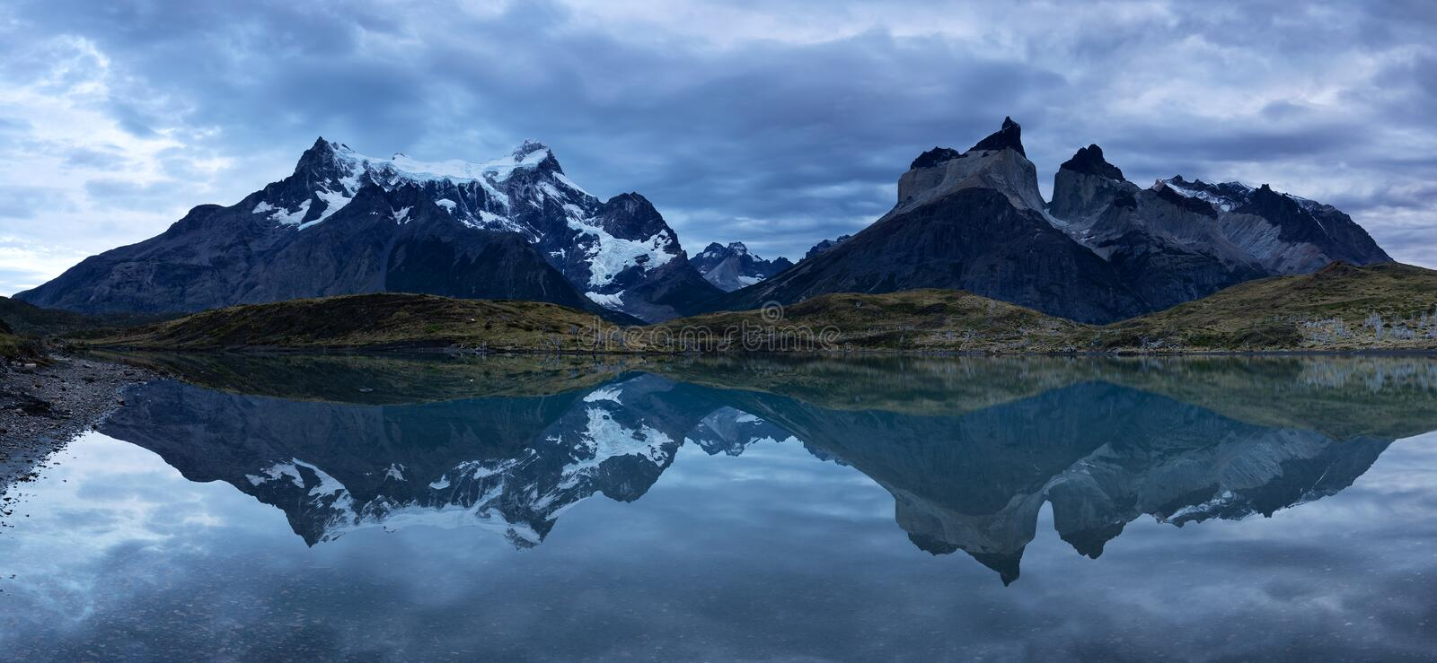Torres del Paine. Autumn view from Torres del Paine with clouds, during the sunset, Chile royalty free stock photos