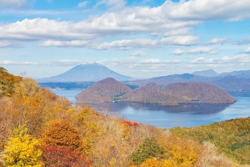 Autumn view from Usuzan ropeway. Mt. Yotei and Toya lake view in autumn from Usuzan ropeway royalty free stock image