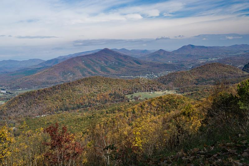 Autumn View van Blauw Ridge Mountains, Virginia, de V.S. royalty-vrije stock foto