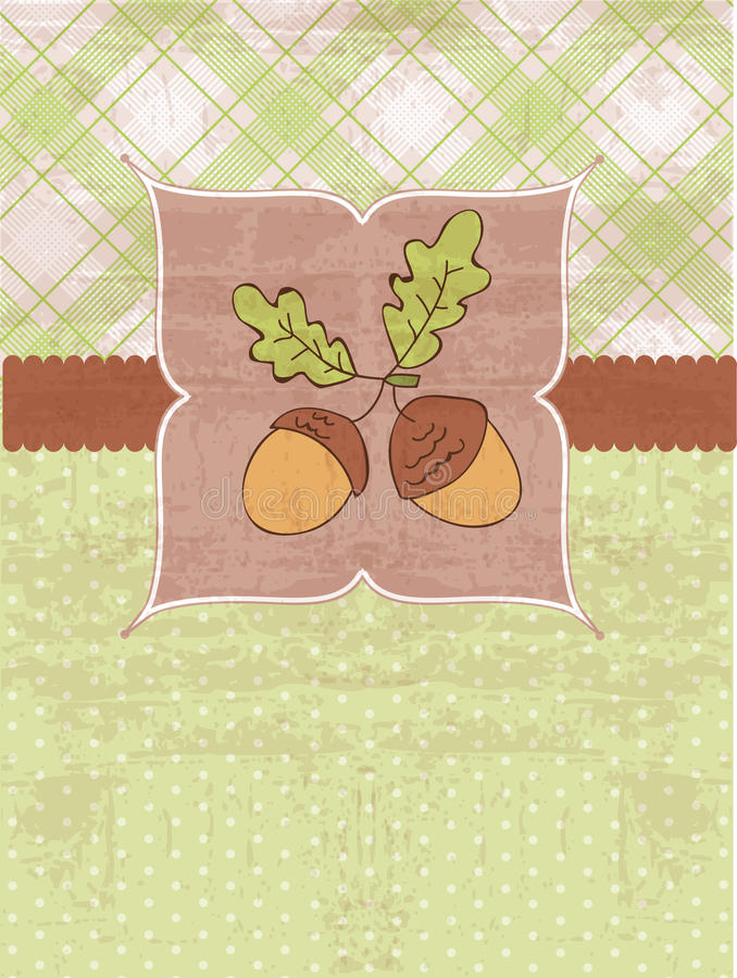 Autumn Vintage Card with Acorns royalty free illustration