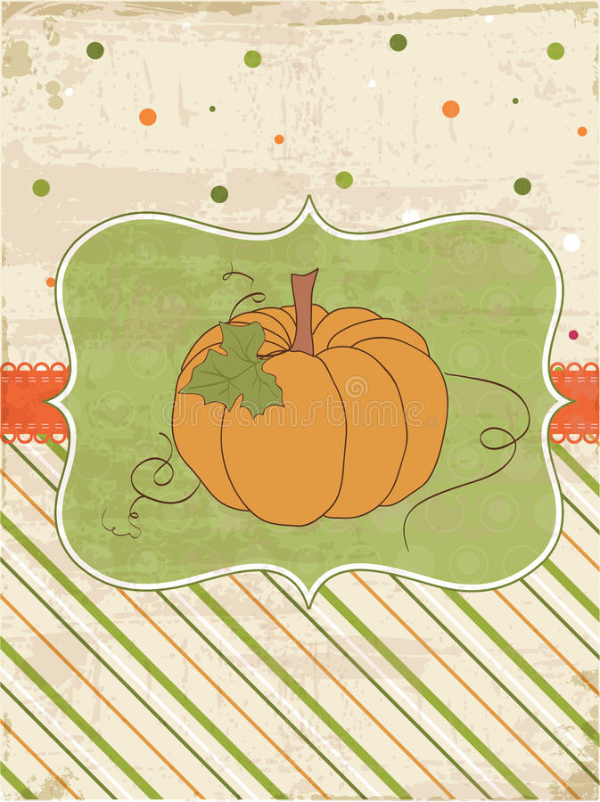 Autumn Vintage Card with Pumpkin royalty free illustration