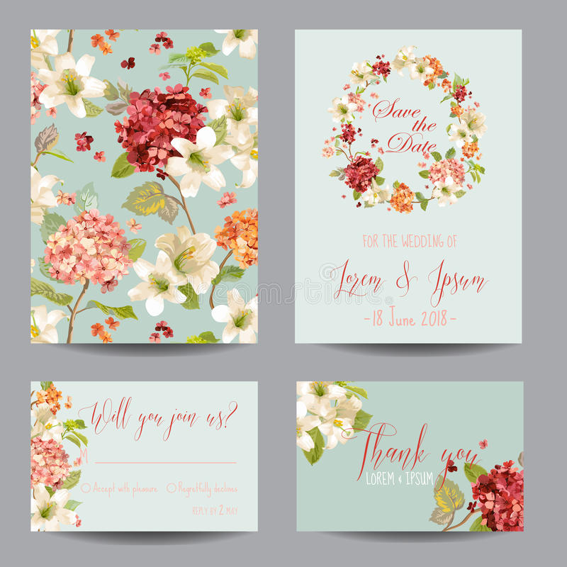 Autumn Vintage Hortensia Flowers Save the Date Card for Wedding, Invitation, Party stock illustration