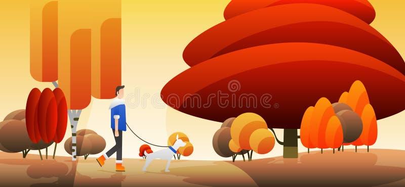 Autumn walk with a dog. EPS10 vector. - Vector graphics. EPS10 vector. - Vector graphics royalty free stock photo