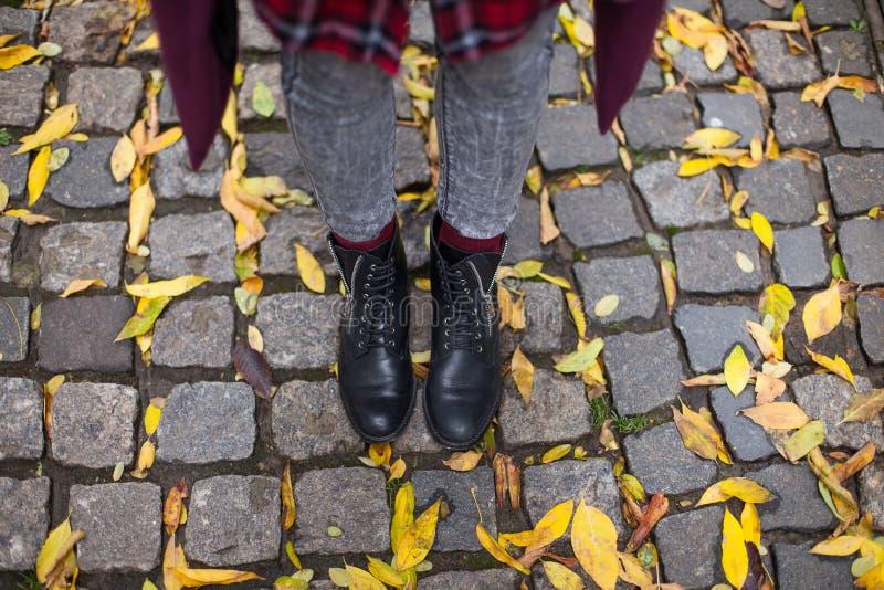 Autumn walk on the pavement. Black women`s shoes, top view.  stock photos