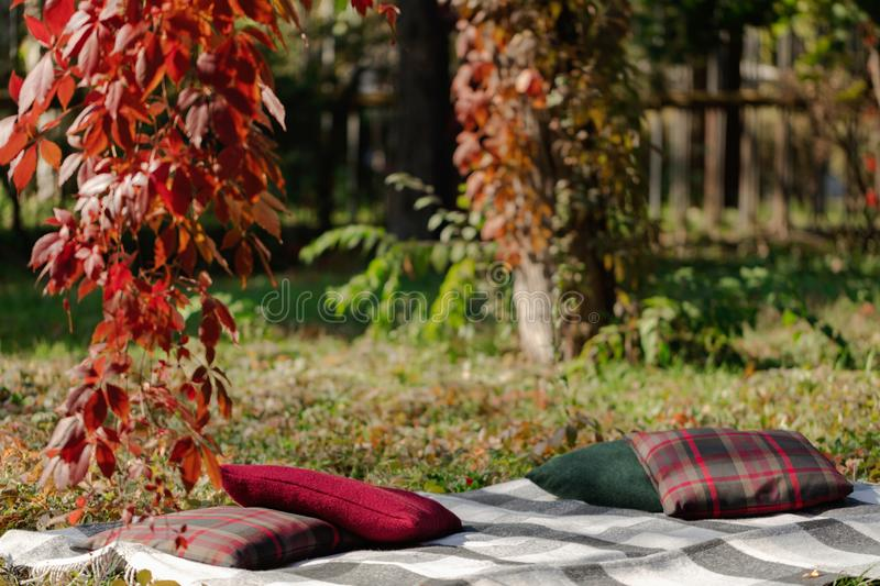 Autumn warm days. Indian summer. Picnic in the garden - blanket. And pillows of gray, burgundy and green color on the background of autumn leaves. Selective stock photography