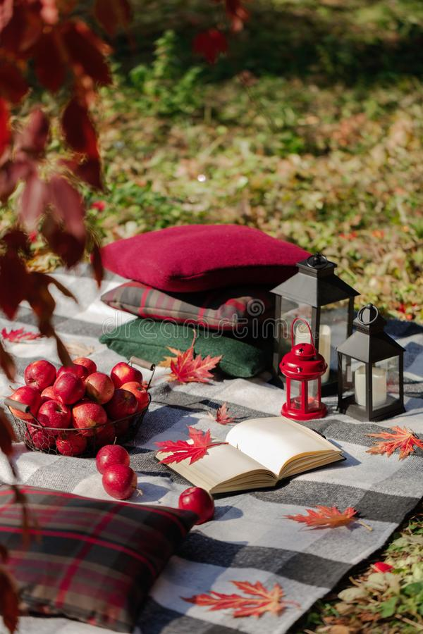 Autumn warm days. Indian summer. Picnic in the garden - blanket. And pillows of gray, burgundy and green color on the background of autumn leaves. Selective royalty free stock photos