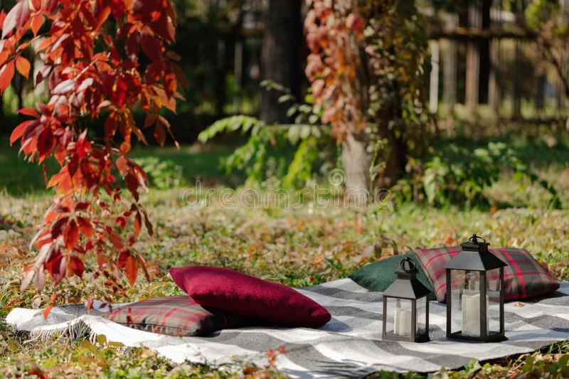 Autumn warm days. Indian summer. Picnic in the garden - blanket and pillows of gray, burgundy and green color on the background of. Autumn leaves. Selective royalty free stock image