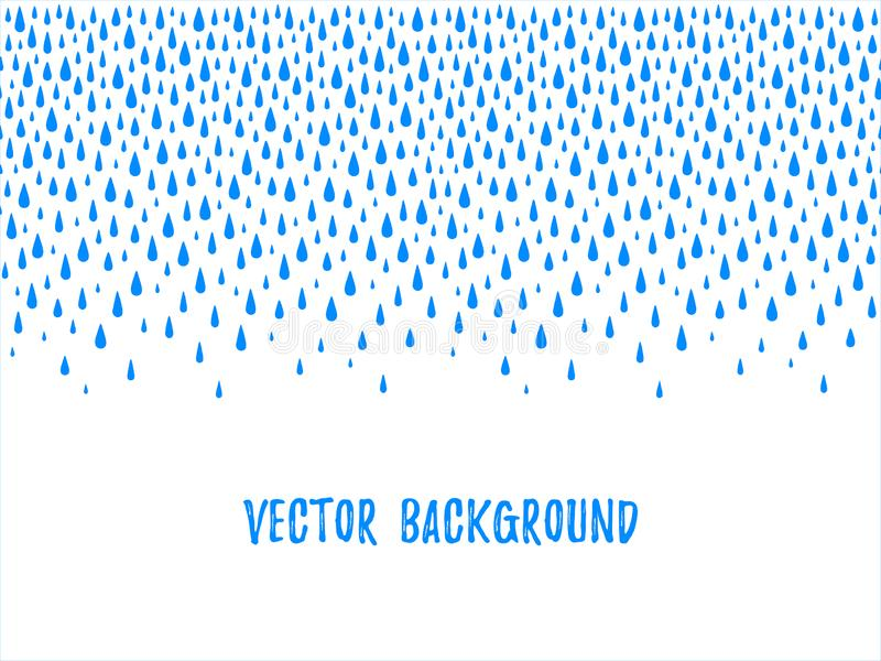 Autumn water drops, droplets, raindrops seamless border. Autumn border, frame made of uneven falling water drops, droplets, raindrops, tears of various size vector illustration