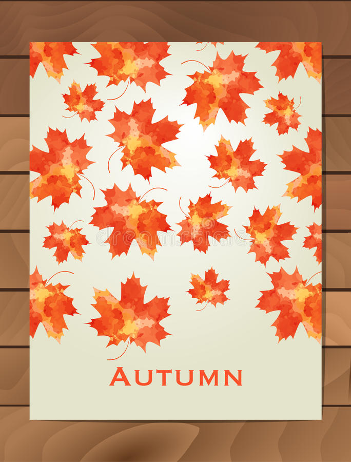 Autumn watercolor card. Wreath of autumn leaves. Background with hand drawn autumn leaves. Fall of the leaves. Sketch, design elem royalty free illustration