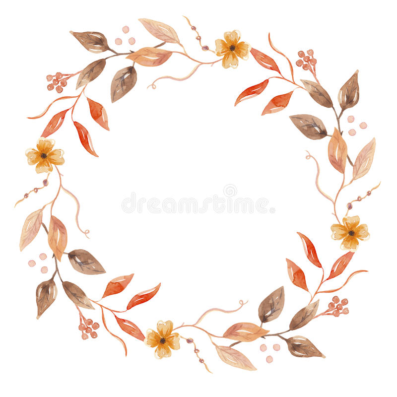 Autumn Watercolor Fall Flower Hand Painted Garland Floral Wreath royalty free illustration