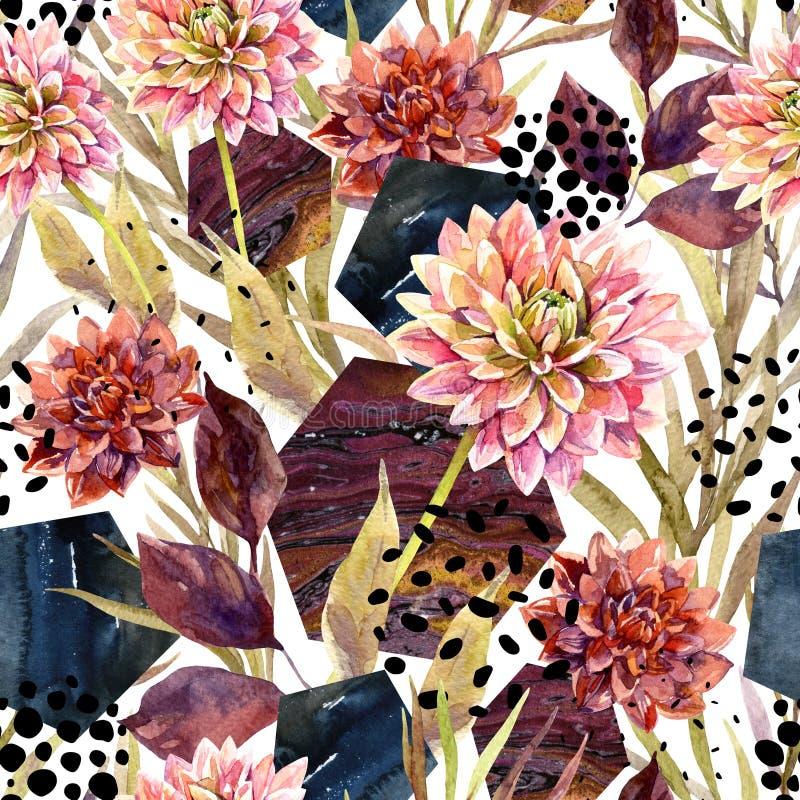 Autumn watercolor floral arrangement, seamless pattern. vector illustration