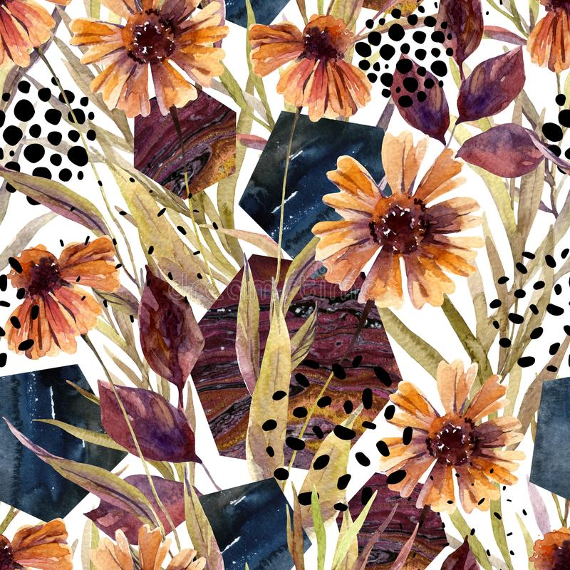 Autumn watercolor floral arrangement, seamless pattern. Background with flowers, leaves, hexagon, circles filled with marbling texture. Hand drawn watercolour royalty free illustration