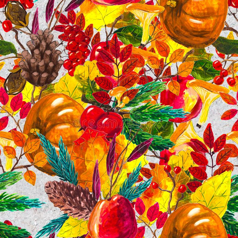 Autumn watercolor hand drawn seamless pattern with leaves mushrooms and pine cones royalty free illustration