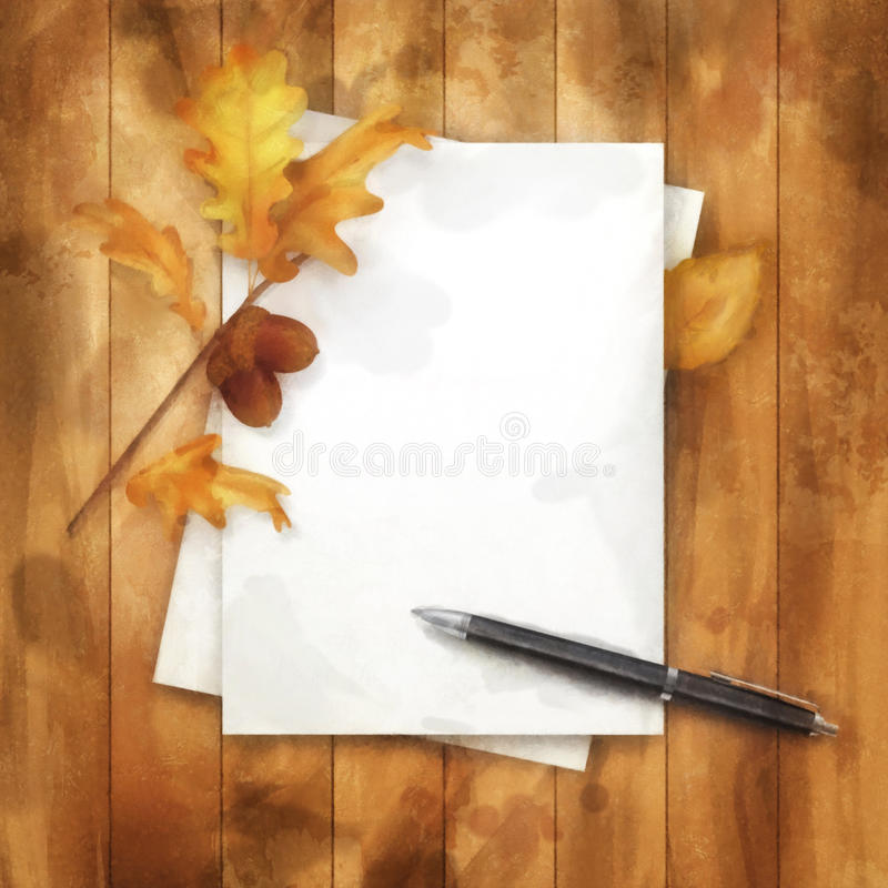 Autumn Watercolor Painting Background ilustração stock