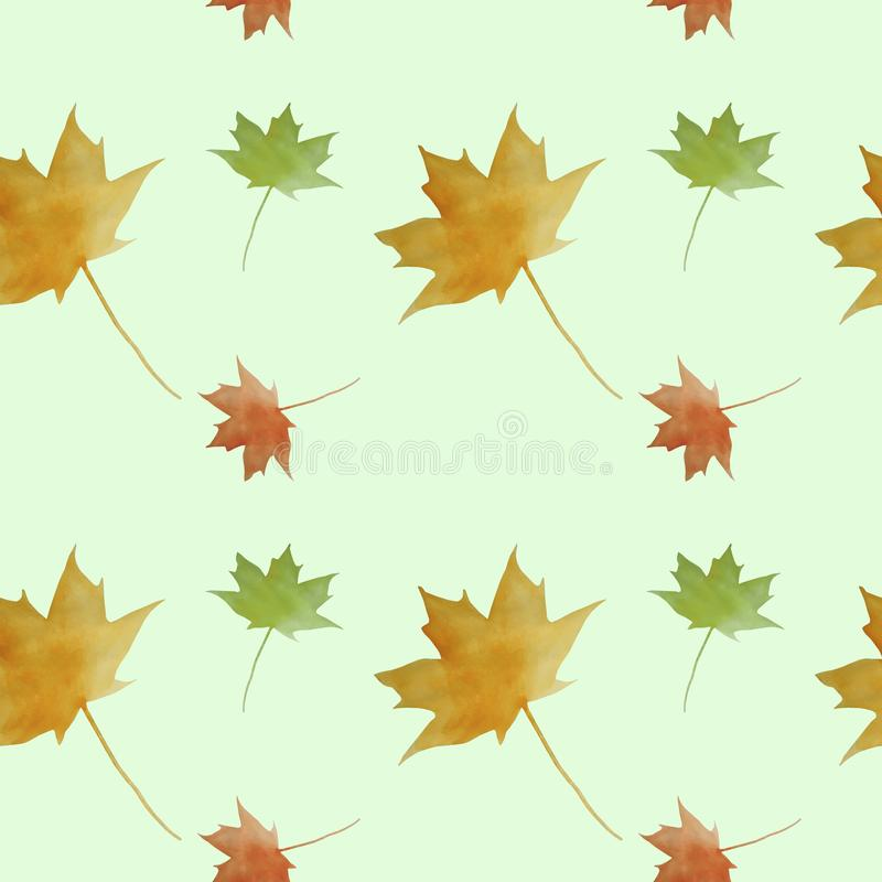 Autumn watercolor seamless pattern. Maple leaves colorful background stock image