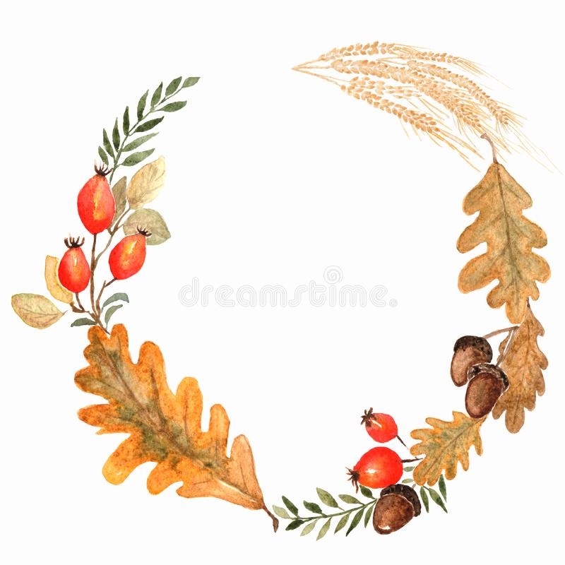 Autumn Watercolor Wreath On Splash Background With Leaves, Doted ...