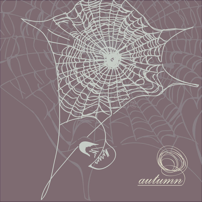 Autumn web against a dark background with the falling leaf stock images