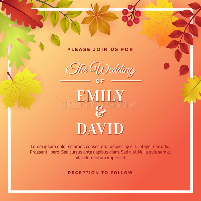 Autumn Wedding met Autumn Foliage Invitation Template Design stock illustratie