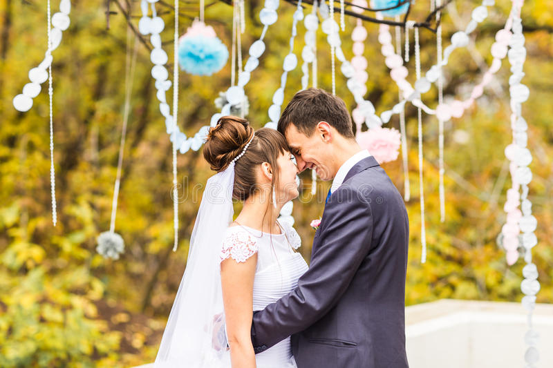 Autumn wedding in the park, bride and groom stock image