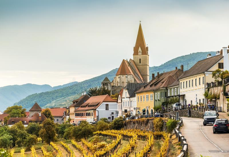 Autumn in Weissenkirchen and vineyards on a sunny day. Wachau. Austria stock images