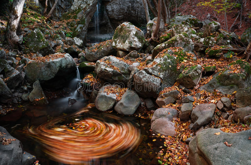 Autumn whirl. Detail of whirl under the waterfall stock photos