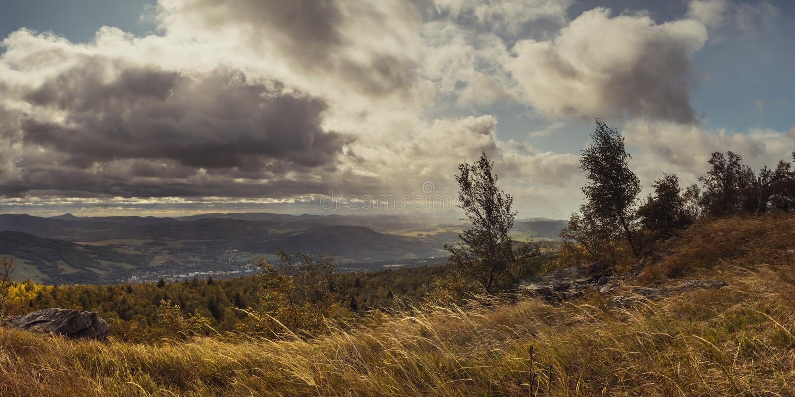 Autumn windy landscape - view of valley and Central Bohemian Highlands royalty free stock images