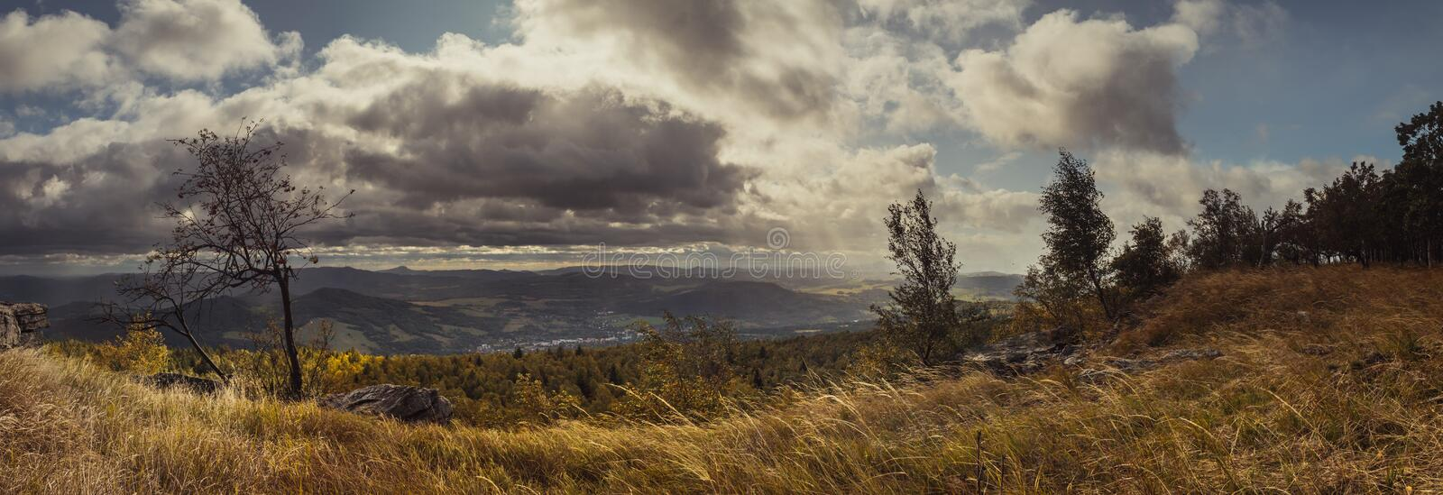 Autumn windy landscape - view of valley and Central Bohemian Highlands royalty free stock image
