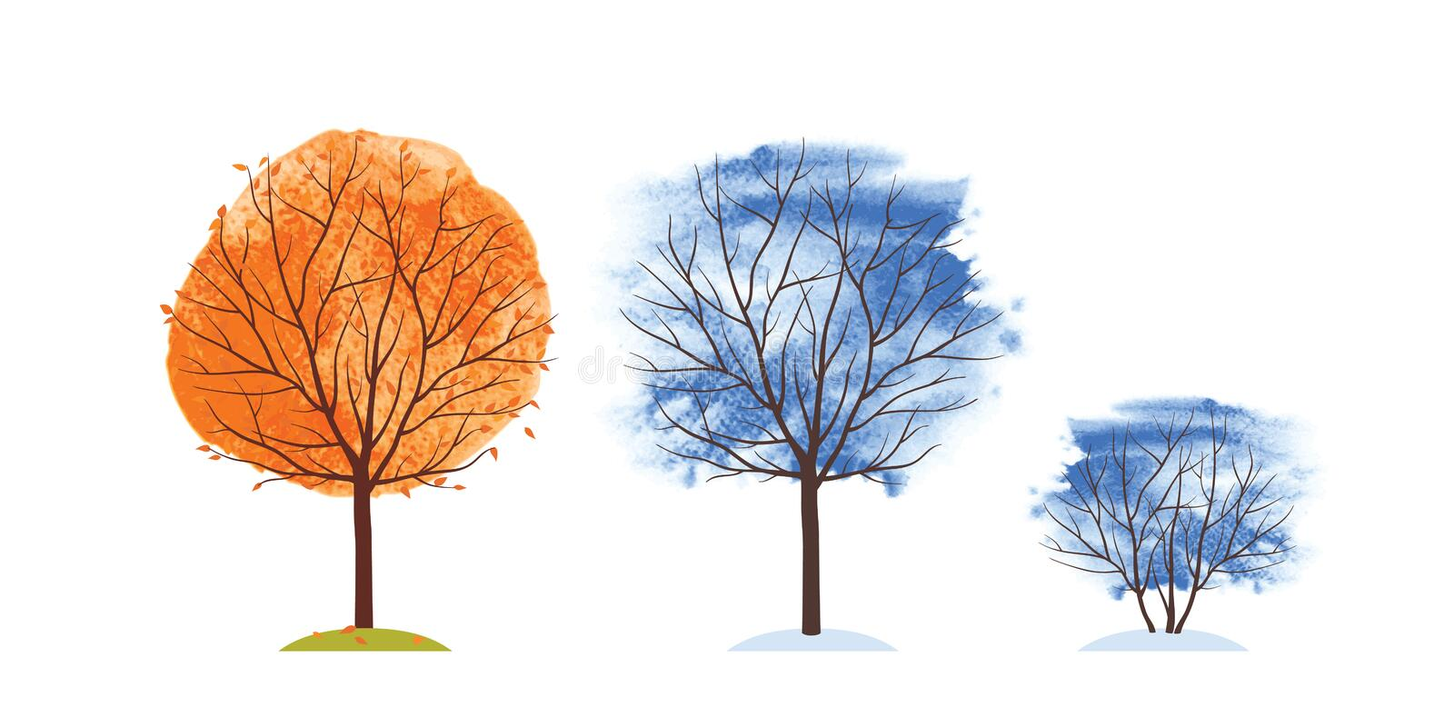 Autumn and winter trees. Fall of the leaves. Trees on an orange, blue and green watercolor background. Autumn and winter trees. Fall of the leaves. Trees on an stock illustration