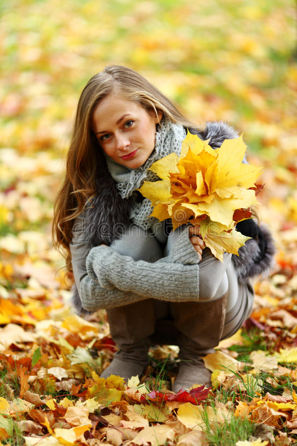 Download Autumn woman stock image. Image of park, girl, background - 26239815