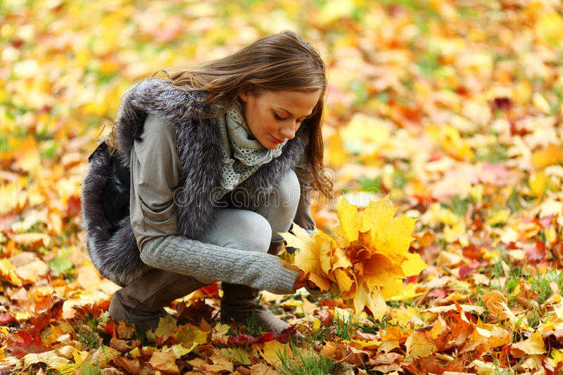 Download Autumn woman stock image. Image of happy, eyes, leaf - 26239825