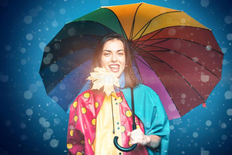 Autumn woman. Advertisement concept. Sensual girl. Promotional products. Happy smiling woman. Advertising agency. royalty free stock photography