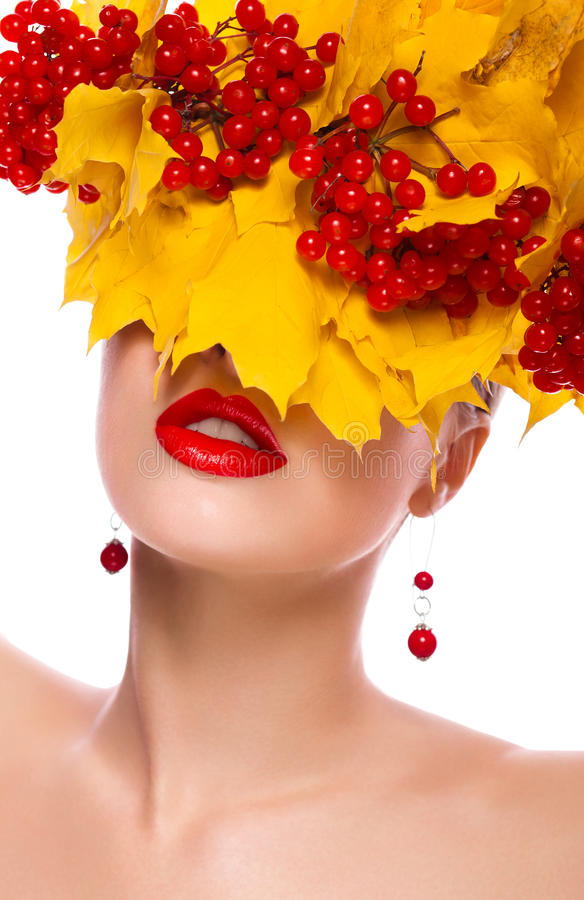 Autumn Woman. Beautiful Makeup. Yellow Leaves Royalty Free Stock Photos
