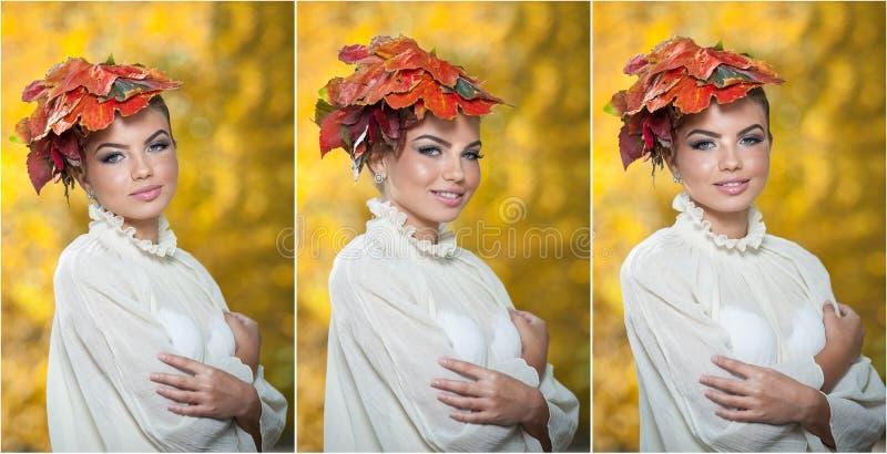 Autumn Woman. Bello stile creativo di capelli e di trucco in tiro all'aperto. Il modello di moda Girl di bellezza con autunnale co fotografia stock libera da diritti