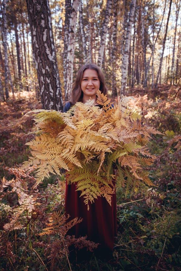 Autumn Woman com um ramalhete da samambaia amarela na floresta no tempo de queda do mês de outubro fotografia de stock royalty free