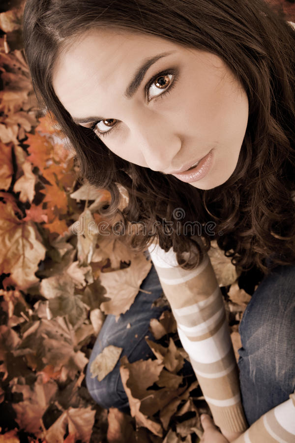 Autumn Woman Covered With  Leaves- Old Style Royalty Free Stock Photos