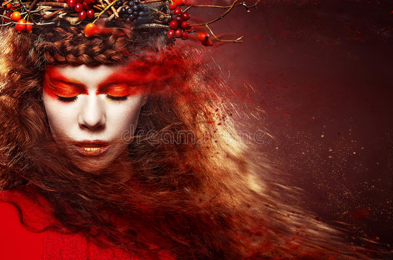 Autumn Woman Fashion Art Portrait. Curly hair. Fall. Beautiful Girl. stock photo