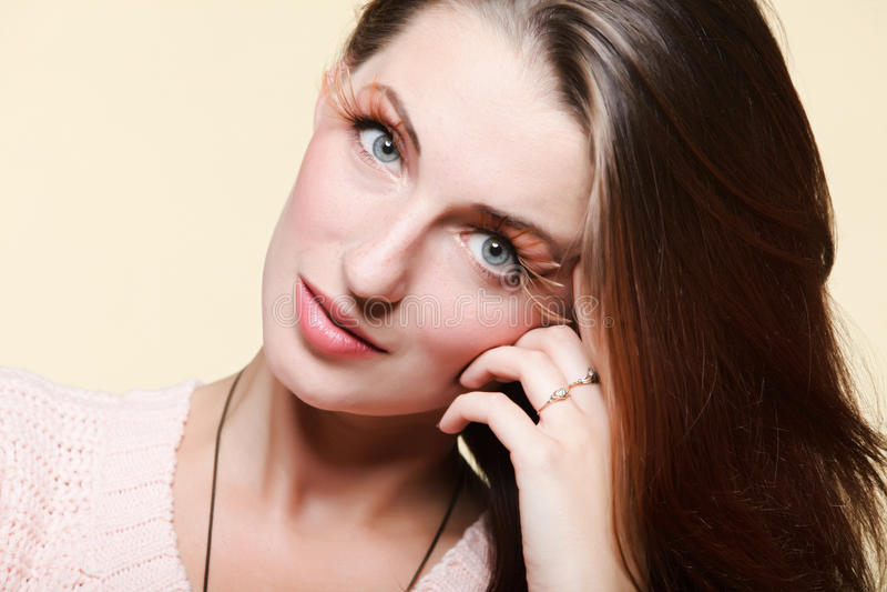 Autumn Woman Fresh Girl Glamour Brown Hair Eye-lashes Stock Photos