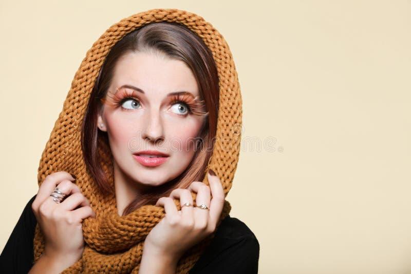 Download Autumn Woman Fresh Girl Glamour Brown Hair Eye-lashes Joyful Smi Stock Photo - Image: 27377222