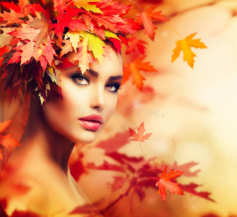 Autumn Woman Portrait. Beauty Fashion Model Girl royalty free stock photo