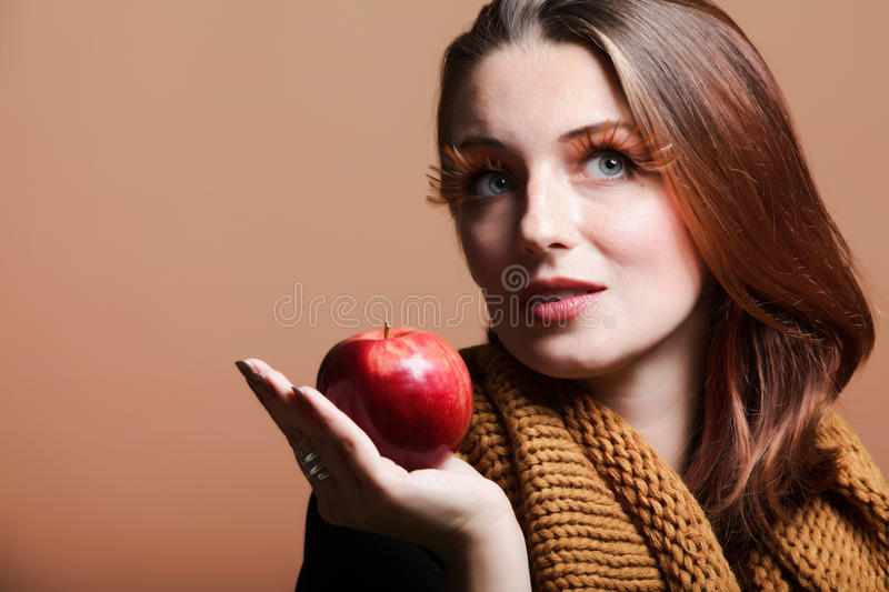 Autumn Woman Red Apple Fresh Girl Eye-lashes Royalty Free Stock Photos