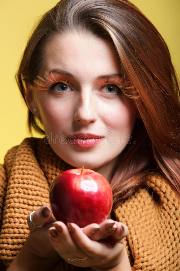 Download Autumn Woman Red Apple Fresh Girl Glamour Eye-lashes Stock Photo - Image: 28113700