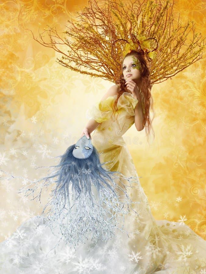 Autumn Woman Winter Mask säsongbegrepp, modeskönhetkonst arkivfoton